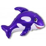 Шар (35''/89 см) Фигура, Веселый кит, Фиолетовый, 1 шт.